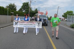 Buccaneer parade banner and holders